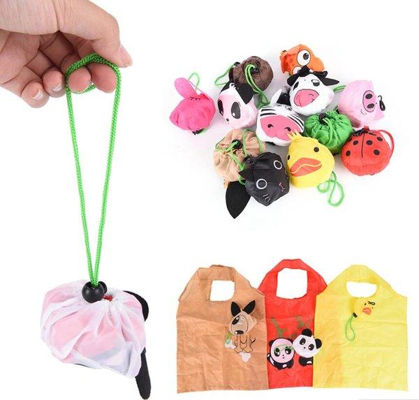 top popular New Cartoon Animal Foldable Folding Shopping Tote Reusable Eco Bag Panda Frog Pig Bear Waterproof Shopping Bags Storage Bags 2019