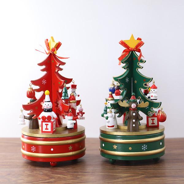 Ornamento / presentes velhos da caixa de música do shishikui de madeira criativo da árvore das decorações do Natal.