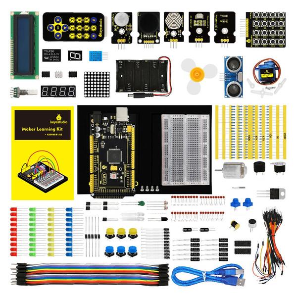 Keyestudio KS0080 Kit di apprendimento per Arduino con MEGA 2560 R3 Funziona bene con controller, sensori, componenti elettronici,