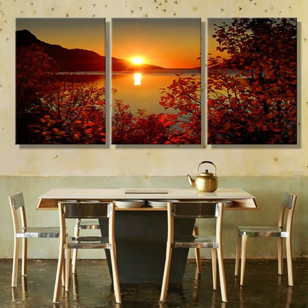 Canvas Modular Framework Wall Art 3 Pieces Lake Sunset Landscape HD Print Painting Popular Picture For Living Room Decor Poster