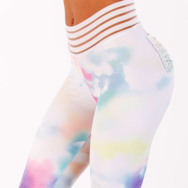 2018 New Sexy Lace Splicing Waist Leggings Women Colorful Clouds Print Pocket Workout Push Up Fitness Female Elastic Slim Pants S18101506