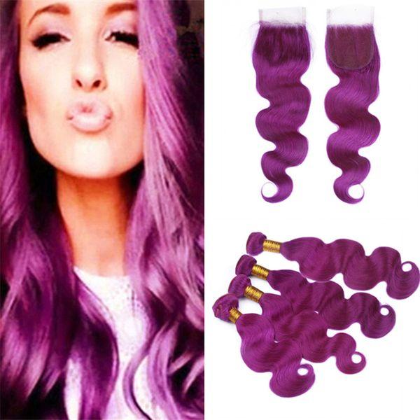 Cheap Brazilian Purple Human Hair Weave 4 Bundles Deals with Lace Closure Body Wave Wavy Purple Virgin Hair Wefts and Closure 5Pcs Lot