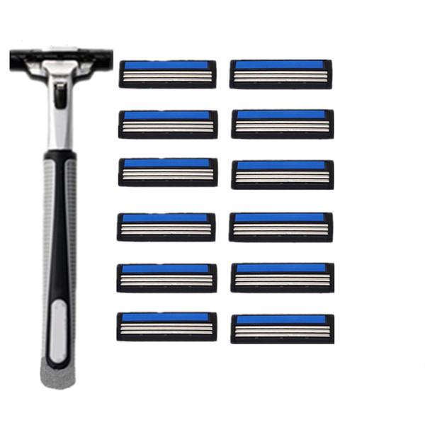12 pcs/lot 3 Razor Blades+1 Holder 3 Blades Replacement Shaver Head Cassette Blue Shaving Razor Set Face Knife For Man