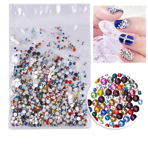 Biutee 1000 PCS/Bag Colorful Glitter Rhinestones Crystal AB All Size One Bag Nail Rhinestones Strass Gem 3D Nail Art Decoration