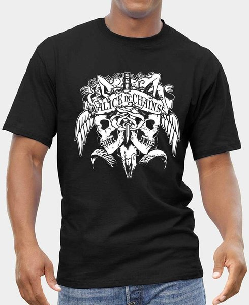 Alice in Chains LOGO FRUIT OF THE LOOM T-SHIR S-XXL BLACK Men'S T-Shirts Short Sleeve O-Neck Cotton