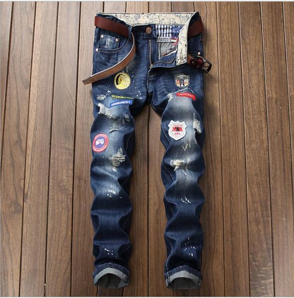 Человек джинсы 2018 новая мода бизнес повседневная джинсовые брюки мужчины прямо вырезать небольшой стрейч брюки большой размер