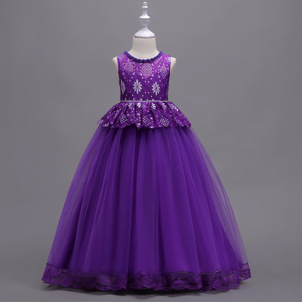 Elegant Purple Kids Embroidery Lace Tulle Flower Dresses Princess Girls empire gowns Birthday party dress handmade beaded Tulle dress D15