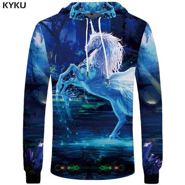 KYKU  Unicorn Sweatshirt Women Dream Sweatshirts Crystal Casual Water Pocket Jungle Hoodie Long Sleeve Large Size Big