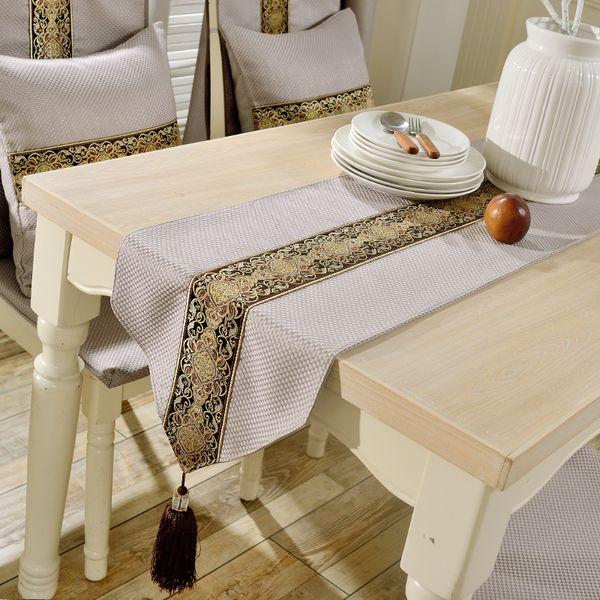 Mélange De Tissus Europe De Luxe Géométrique Pendentif Chemin De Table En Tissu De Mariage Table Runner Maison Modèle Chambre Décoration de fête