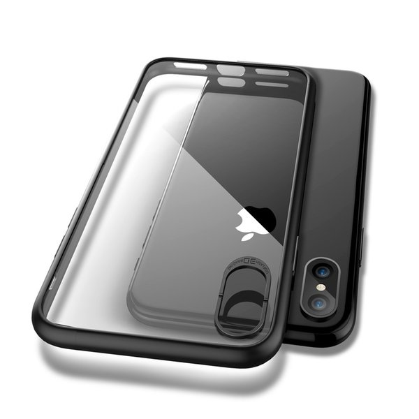 For iPhone X Clear Phone Cases,Flexible Back Soft Silicone Color Side UltraThin Cover Shockproof Protect Case for Apple iPhone X
