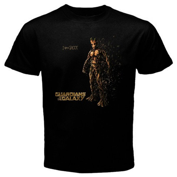 The Groot Guardian of The Galaxy Tshirt black Basic Tee short sleeve men Tee T shirt o-neck knitted comfortable fabric