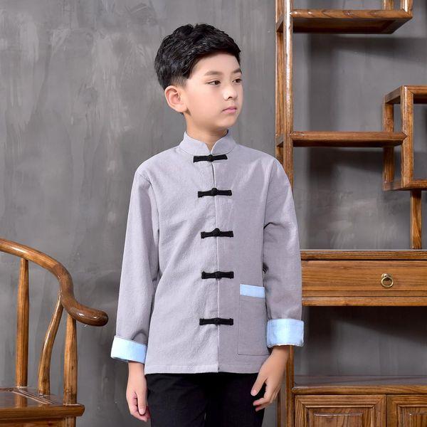 Chinese Folk Hanfu für Jungen Tops Ethnische Langarm-Bluse chinesischen traditionellen Kostüm Kinder alten Stil Jacke