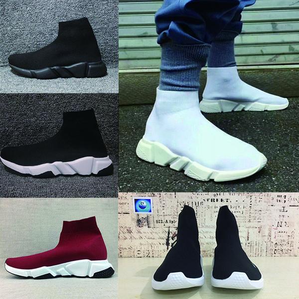 Balenciaga Sock shoes Luxury Brand  Moda plana Triple S Entrenadores de velocidad Negro Blanco Rojo Mujer Calcetines de hombre Zapatillas de deporte deportivas