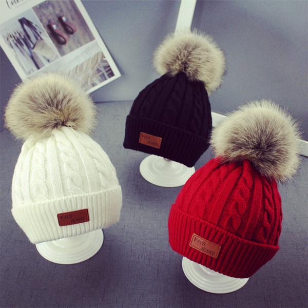 6f4ca4fb224 Baby Knitted Pom Beanie Girls Boys Crochet Knitting Wool Bobble Winter  Enfant Toddler Kids Designer Hats Fashion PomPom Ski Warm Caps
