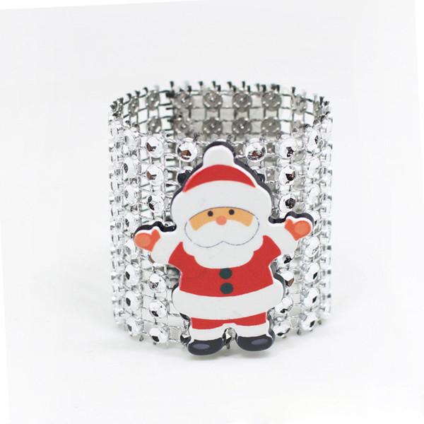 500Pcs Plastic Rhinestone Wrap Christmas Santa Claus Napkin Ring Serviette Buckle Hotel Wedding Supplies Home Decoration ZA5259