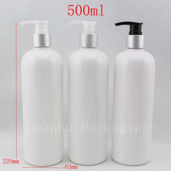 500ml X 12 empty liquid soap pump cosmetic white bottles ,500g aluminum shampoo dispenser pump container for lotion