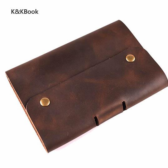 K&KBook Logo Customerized Genuine Leather Notebook A5 A6 Vintage Cowhide Diary Spiral Loose Leaf Journal Notepad Mini Planner
