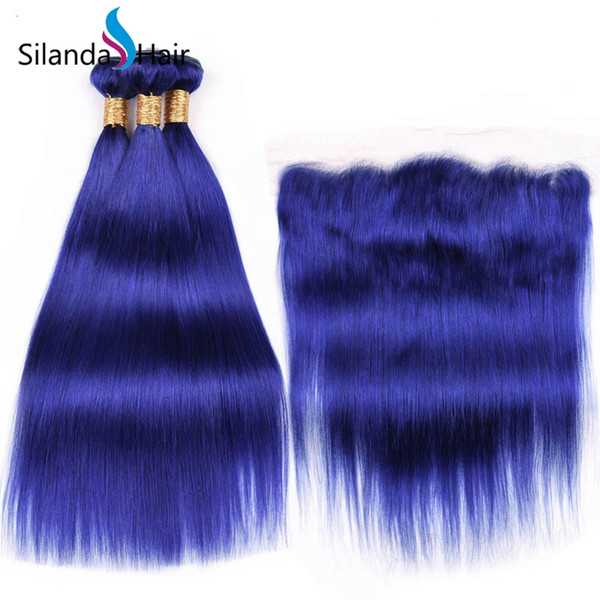 Silanda Hair Good Quality Pure Blue Straight Brazilian Remy Human Hair Weft 3 Weaves Bundles With 13X4 Lace Frontal Closure Free Shipping