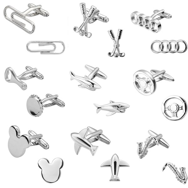Fashion Men &#039 ;S Shirts Cufflinks Silver Shark 18 Aircraft Design High Quality Cufflinks Jewelry Wholesale And Retail 10pairs