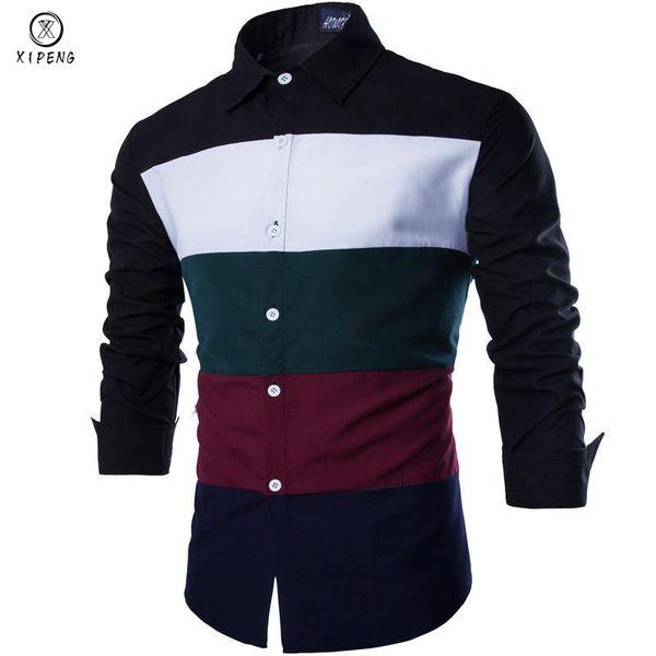 d03ec891f92 2018 New Autumn Fashion Men Clothes Slim Fit Men Long Sleeve Striped Color  Shirt Patchwork Casual