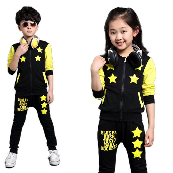 in stock sold worldwide 50% price 2019 Boys And Girls Sportswear 2017 New Kids Clothes Autumn Long Sleeve  Pentagramme Printed Kids Tracksuits Girls Boys Clothes Sets From Localking,  ...