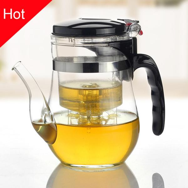 Isıya Dayanıklı Cam Çay Potu Çiçek Çay Seti Puer su ısıtıcısı Kahve Demlik Uygun Ofis Teaset, kung fu seti 500 750 ml