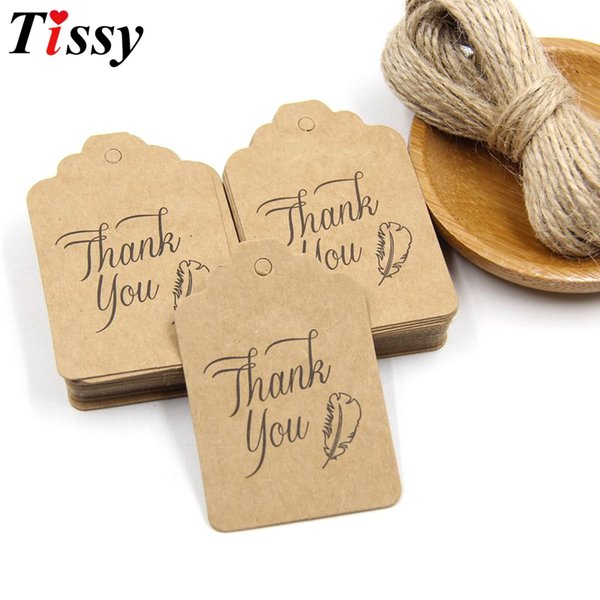 50PCS New DIY Paper Tags+10M Rope Thank You Paper Card Tag Labels Party Favors Wedding Note Hang Tag Gift Wrapping Supplies