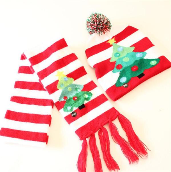 Weihnachten Schal + Mützen Set stricken Santa LED Hut 2018 Warme Winter Erwachsene Kinder Weihnachtsbaum Schneeflocke Muffler Cap Christmas Supplies B11