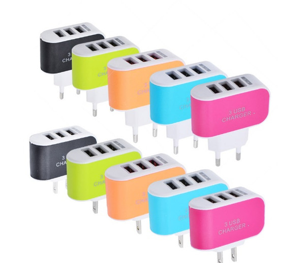 3 USB wall chargers Candy-colored LED travel adapter with triple USB port US EU home plug for mobile phone usb Chargers