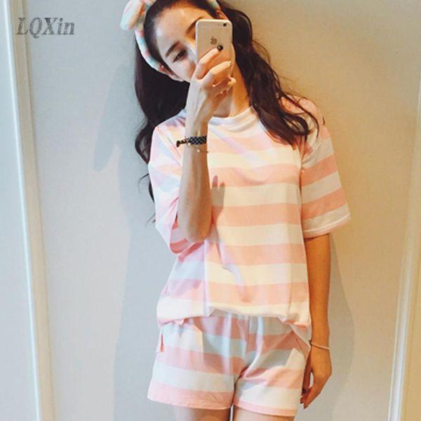 Wholesale- LQXin Summer Women Short Pajama Sets Pink Striped Nightwear Sleep & Lounge Sleepwear Pajamas Pyjamas Femme Home Clothing Woman