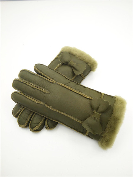 Free Shipping - High Quality Classic Women Casual Leather Gloves Winter Warm women Wool Gloves