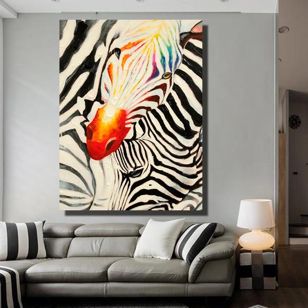 1 Pz Poster sulla parete Modello zebra Pittura a olio per soggiorno Decorazioni decorative No incorniciato
