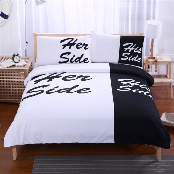 Her Side His Side Lenzuola.Wedding Bedding Set Her Side His Side Black White Soft Duvet Cover With Pillowcases Twin Full Queen King Size Bedclothes For Lover Brown Duvet Cover