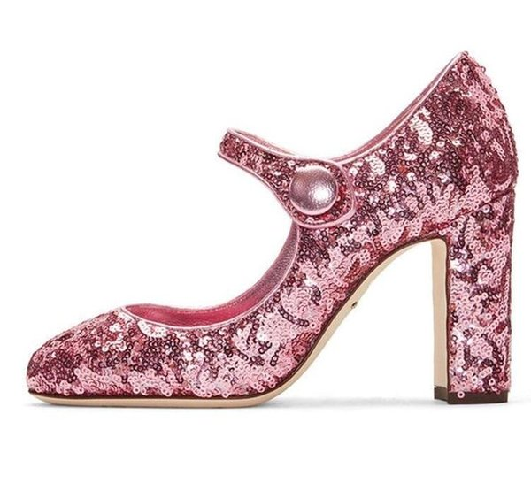 Elegant Bling Bling Glitter Mary Janes High Heel Pumps Ankle Strap Thick Heel  Sequin Party Dress Shoes For Women Pink Silver Free Shipping 421640ee899e