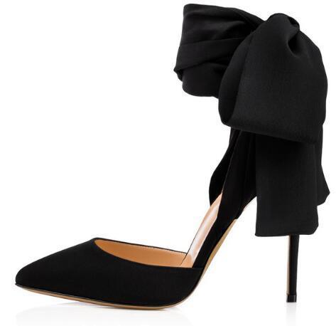 Elegant Pointed Toe High Heel Red Satin Pumps Black Dress Shoes for Women Ankle Wraps Slingbacks Evening Heels Summer Shoes 2018