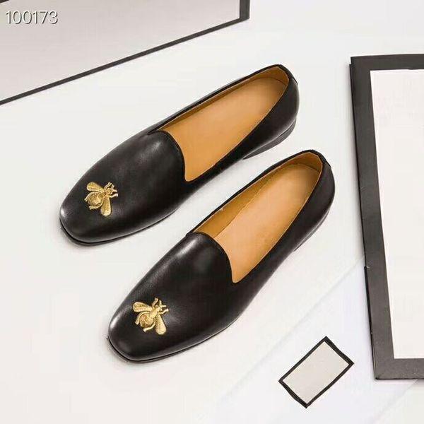 Marcas de lujo edición original personalizado de alta calidad de cuero genuino Cómodo zapato saludable patrón de abeja Zapatos de cuero de los hombres