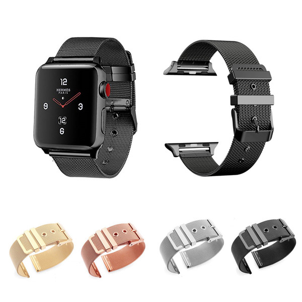 top popular Milanese Stainless Steel Loop Band Strap for Apple Watch iWatch Series 3 2 1 38mm 42mm 2019