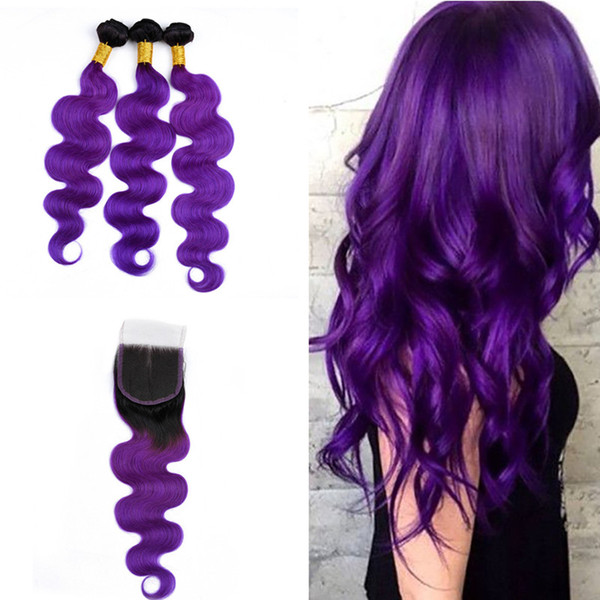 Ombre Color # 1B Extensión de la trama del cabello púrpura con cierre de encaje 4x4 Body Wave Humanos 3Bundles con cierre