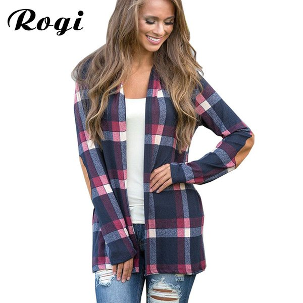 Rogi 2018 Autumn Plaid Cardigan Women Coat Casual Long Sleeve Knitted Cardigans Elbow Patchwork Knitting Sweater Tops Poncho XXL D1892002