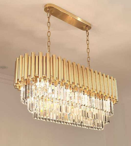 New modern light luxury rectangular chandelier k9 crystal lamp home dining room lamp gold decorative light