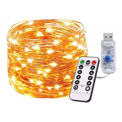 33ft Dimmable USB LED String Lights 8 Modes 100 LEDs Twnikle Fairy Lights USB Powered Firefly String Lights with Remote Control for Holiday