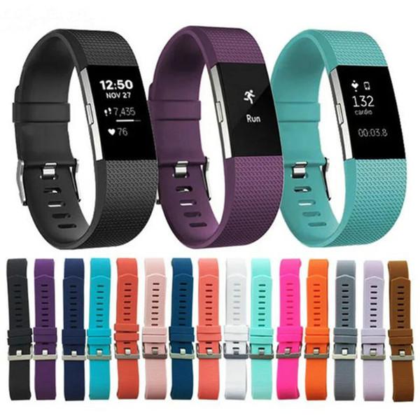 Pour Fitbit Charge 2 Poignets Wearables Montre En Silicone Sangles Bande Pour Fitbit Montre Intelligente Remplacement Sport Bracelet 15 couleurs