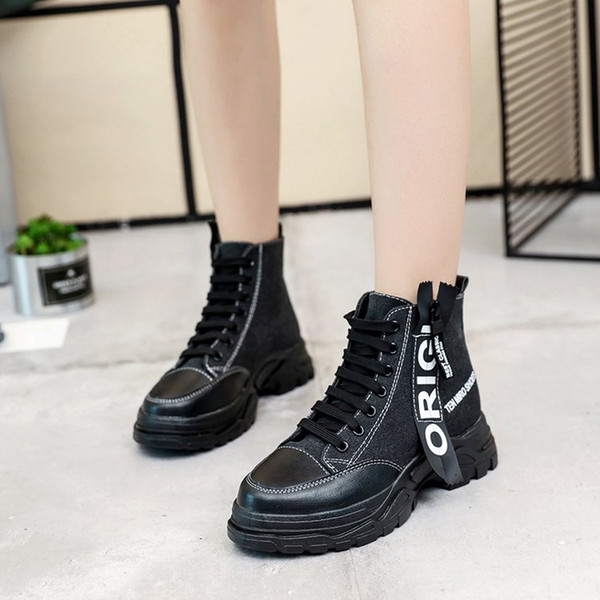 2018 new arrial Winter chic Canvas ankle boot Womens Shoes Girls sports boots young dynamic Dunk High Thick bottom Motorcycle boots