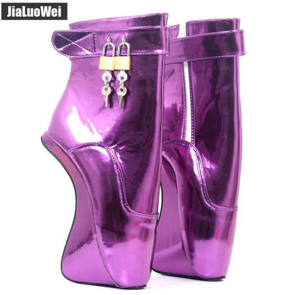Women High Heels Pony Heelless Wedges Ankle Ballet Boots Crystal Sexy Man Fetish Padlocks Exotic Party Short Boot Men Performance Shoes 18cm