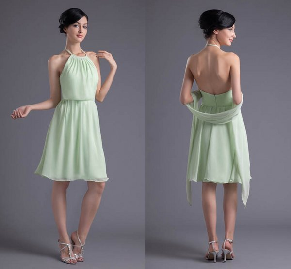 d5fa436876 2018 Mint Green New Arrival Short Bridesmaid Chiffon Dress Halter Neck  Backless Custom Made Bridesmaid Dress Bridesmaid Dresses High Street  Bridesmaid ...