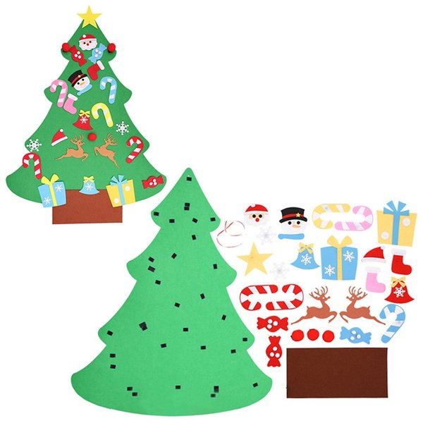 DIY Felt Christmas Tree Kids Artificial Tree Ornaments Christmas Stand Decorations Gifts New Year Xmas Decoration