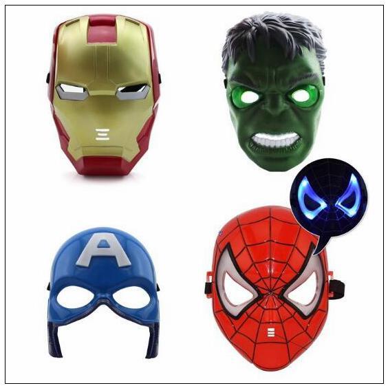 Masques lumineux pour enfants effectuant des dessins animés Iron Man Masque Rôle Jouant Jouet Avengers Masques de fête lumineux CCA10119 60pcs