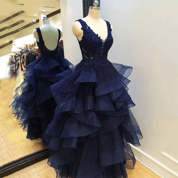 2019 Navy Blue Long Evening Dresses Appliques Beaded Floor Length V-Neck Ruffles Formal Evening Party Dress for Women Prom Gowns