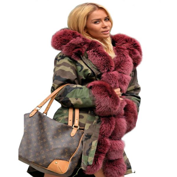 Roiii verdickte warme Wein-rote Tarnung Faux-Pelz-Art- und Weisewarme Parka-Luxusfrauen mit Kapuze lange Winter-Jacken-Mantel-Mantel-Spitze S18101503
