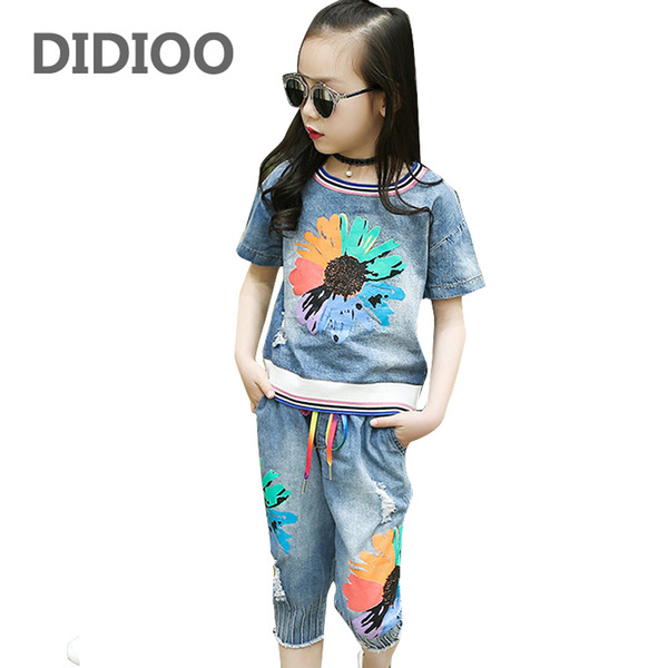 Girls Outfits Kids Denim Clothes Sets for Girls Summer Flower Shirts & Pants Suits Child Clothing Sets Jeans Tops & Shorts Suits